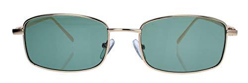 amashades Vintage Classics Trendige Damen Herren Sonnenbrille klein schmal flach rechteckig Metallrahmen gold farbige Gläser SM52 (Gold/Grün)