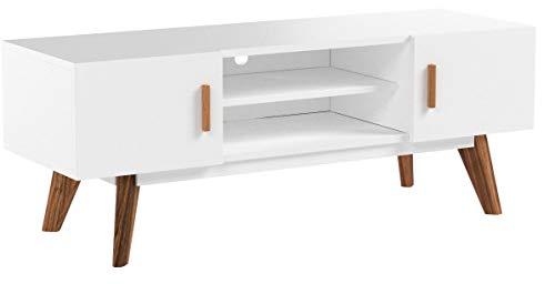 FineBuy Retro TV Lowboard SCANIO 120 cm MDF-Holz Landhaus 2 Türen & Fach | HiFi Regal weiß 4 Füße | Fernseher Kommode Skandinavisch