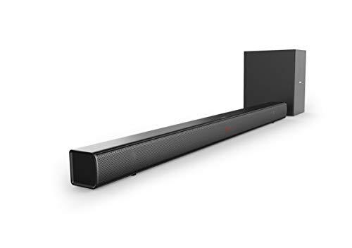 Philips Soundbar Bluetooth HTL1510B/12 Bluetooth Soundbar (Bluetooth, Subwoofer sans Fil, entrée Audio, positionnement Flexible, Design Plat) Noir