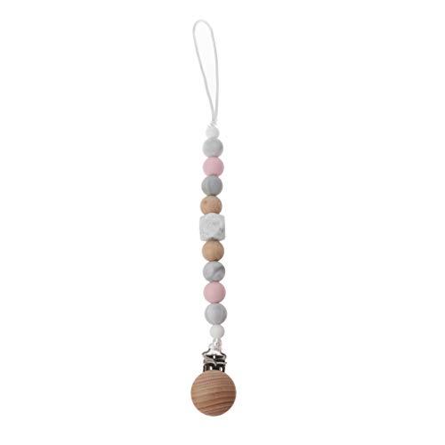 LANDUM Schnuller-Clip-Kette Silikon Holz Beißring Antikette Baby Krankenpflege Armbänder Kauen Perlen Kinderkrankheiten Rasseln Spielzeug - Rosa - Schnuller-clip Kauen