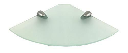 Regale4You Glasregal Ecke 30x30 cm satiniertes Glas mit Clip Halterung MIDI in silbermatt / 1 Eckregal - Eck-glasregal Satiniert