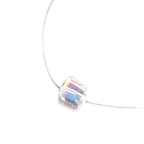 Gespout Collier pour Femme et Fil Nylon Transparent Cubique Strass Cadeau d'anniversaire
