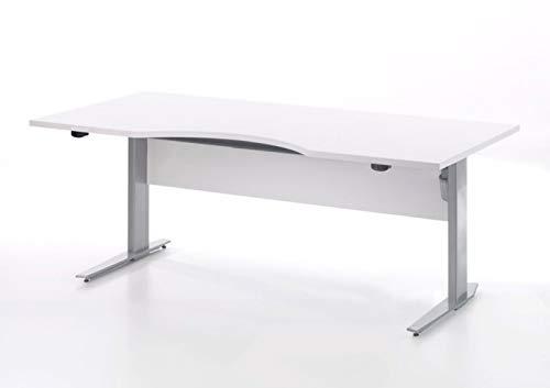 Prisme Schreibtisch Weiss und silbergrauer Stahl Bürotisch Arbeitstisch Computertisch Büro Tisch