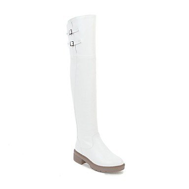 Wuyulunbi@ Scarpe Donna Moda Invernale Stivali Stivali Punta Tonda Coscia-Alti Stivali Per Abbigliamento Casual Beige Bianco Nero US5.5 / EU36 / UK3.5 / CN35