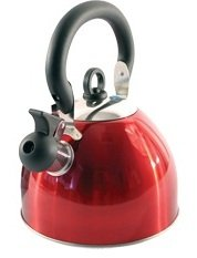 2.5L STAIINLESS STEEL LIGHTWEIGHT WHISTLING KETTLE CAMPING FISHING HOME CORDLESS (RED) Test