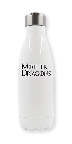 LukeTee Mother of Dragons Black Letters Logo Thermo-Wasserflasche - Dragon Thermo Shirt