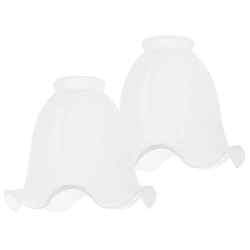 perfk Weiß Glas Lampenschirm Kronleuchter Hängelampe Wandlampe Schirm, 2er-Packung