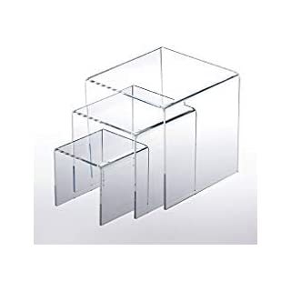 Adorox Set of 3 Clear Acrylic Display Riser (3