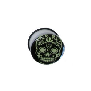 Gekko Body Jewellery Glow in the Dark Skull Pattern Raccordo filettato Plug acrilico - 25 mm
