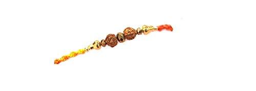 Rakhi Bracelet - Red/Orange Thread with Gold & Brown Beads and Rudraksha (Pack of 12)