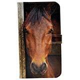 r Geldbörse Leder Kreditkarte Halter Tasche Flip Stand Schutzhülle für Apple iPhone 7, Close-up of Horse's Face ()
