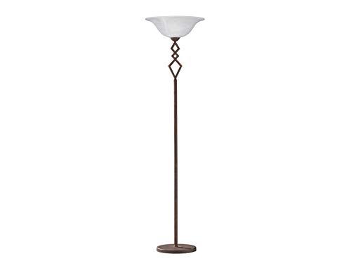 Elegante Honsel Landhaus Stehleuchte Deckenfluter BERGAMO mit LED, Lampenschirm Glas weiß - Runde, Weiße Glasschirm