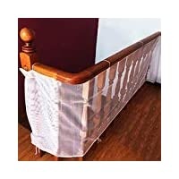 Child Safety Rail Net for Balcony, Patios, Railing and Stairs. Security Guards for Kids/Pet/ Toy Both Indoors and Outdoors. 10ft x2.5ft, Sturdy Mesh Fabric Material.
