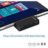 Surface Pro Hub Adapter / Kartenleser, High Speed USB 3.0 Transport und USB 2.0 für Maus oder Tastatur mit SD (HC) Kart