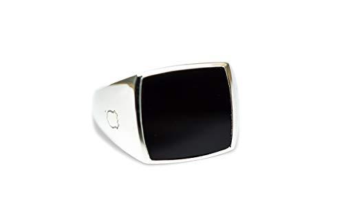 Sprezzi Fashion® Siegelring aus massivem 925 Sterling Silber für Männer in silber mit Onyx Stein in den Ringgrößen 58 bis 66 | Schmuck Herrenring aus Deutschland (Onyx, 58 (18.5))