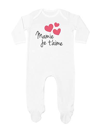 Mamie Je t'aime Fêtes des Grands mères Combinaison Bébé 0-3M Blanc