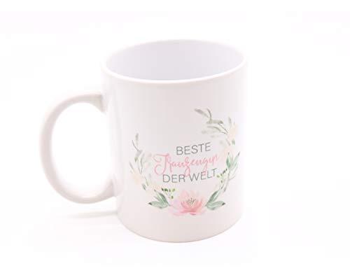 Great Stuff Tasse Beste Trauzeugin der Welt Geschenk Hochzeit Blütenkranz grün rosa halboffen Vintage Boho Danke Dankeschön JGA Bridesmaid Teetasse Kaffeetasse Beste Freundin Geschenkidee Idee