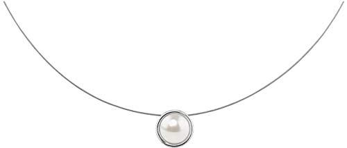 petra kupfer Kurze Damen Kette Anhänger Schwebender Stein Swarovski Perle weiß - stah1p-white-pearl