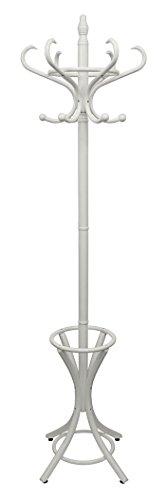 Headbourne HR8130X Garderobenständer aus Holz für Mäntel und Hüte, mit Schirmständer, Weiß