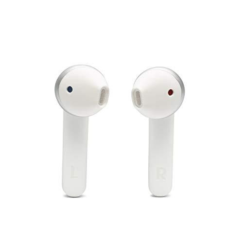 JBL Tune 220 - Auriculares inalámbricos con Bluetooth y JBL Pure Bass Sound, 20 h de música continua y estuche de carga inteligente, blanco