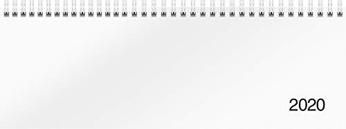 rido/idé 703650100 Tischkalender/Querterminbuch Modell Sequenz (2 Seiten = 1 Woche, 297 x 105 mm, Karton-Einband Trucard, Kalendarium 2020, Wire-O-Bindung) weiß
