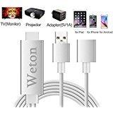 weton Lightning Digital AV Adapter, Plug und Play Lightning MHL zu HDMI Mirroring Kabel für iPhone iPad Samsung Huawei Smartphones