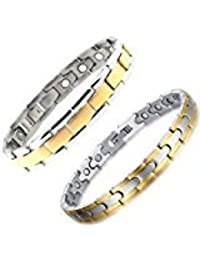 Set Of 2 Energy Jewellery Gold And Silver Plated Magnetic Bracelet Assorted Designs