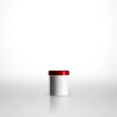 100 x Salbenkruken (Salbendosen) weiss/20g bzw. 25ml/Schraubdeckel rot/PP (€ 0,28 pro Stk.) -