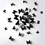 Leoie Sangu 3D Black Butterfly Removable Mural Wall Stickers Wall Decal for Home