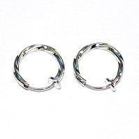 (Accessoire parties / ferrures métalliques) Boucles d'oreilles Twist / Hoop 13 mm couleur argent (rhodium) 5 paires