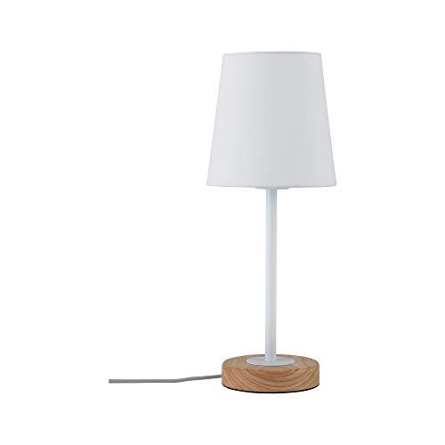 Paulmann 79636 Neordic Stellan Tischleuchte max. 1x20W Tischlampe für E27 Lampen Nachttischlampe Weiß 230V Stoff/Metall/Holz ohne Leuchtmittel -