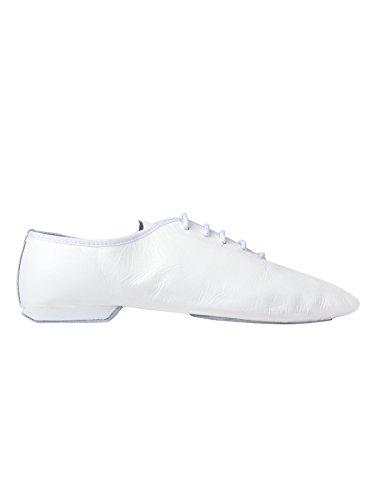 Rumpf Jazzschuhe Basic II 1270 für Gymnastik Jazz Tanz, Leder mit geteilter Chromledersohle Weiß