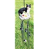 Schwarz Kitty Katze mit Fisch Schale Resonanz Entspannende Windspiel Garten Decor -