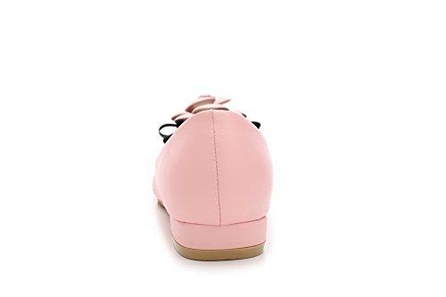 AalarDom Femme Matière Souple Pointu à Talon Bas Tire Chaussures Légeres Rose