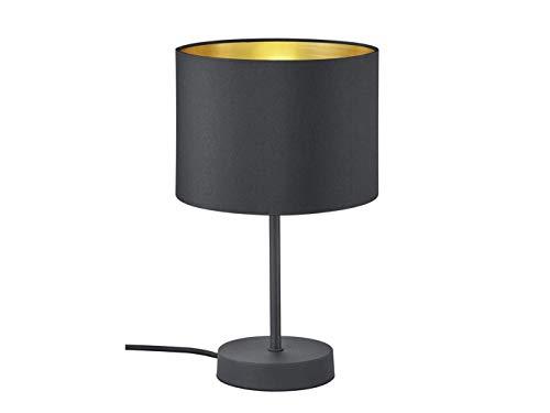 Lampe de table LED décorative 33 cm avec abat-jour en plastique Ø 20 cm Noir & intérieur doré - Ambiente lumineuse unique avec filament LED au design élégant