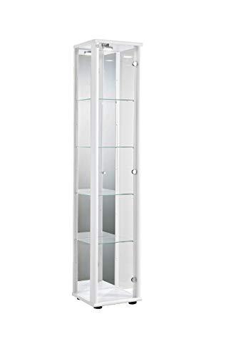 Markenlos Glasvitrine Sammlervitrine Vitrine LED beleuchtet Schloß Spiegel Weiss Schwarz Silber (Weiss)