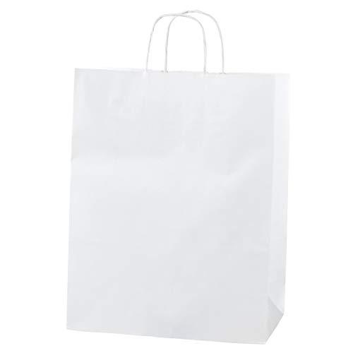 Thepaperbagstore 20 Weiß Papiertragetaschen, Recycelbar Und Wiederverwendbar, Mit Gedrehten Griffen - Mittel - 250 x 110 x 310mm