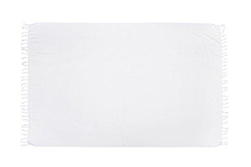 ManuMar Damen Sarong | Pareo Strandtuch | Leichtes Wickeltuch in Weiß mit Fransen-Quasten XXL Übergröße 115x225 cm (Weiß Pareo)