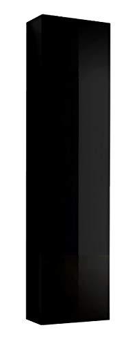 Muebles bonitos mobile pensile sospeso moderno modello amalfi nero, anta lucida - larghezza: 40cm x altezza: 170cm x profondità: 29 cm lettiemobili