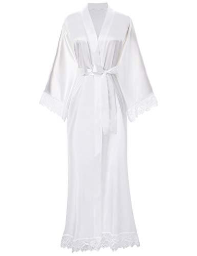 ArtiDeco Kimono Vestido Puramente Blanco Bata para Novia Dama de Honor Pijama para Boda Fiesta de Chicas...