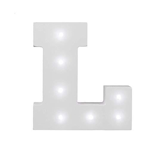 Dekorative leuchtende Buchstaben,KINGCOO Lampe batteriebetrieben hölzerne Alphabet uchstaben Zeichen Lichter,Party Hochzeit Dekorationen,Dein Name in Lichter - weiß (L) -