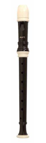 Aulos 103N Sopran Barock Einfachloch Kunststoff-Blockflöte Dunkelbraun, Serie Alouette, 1-teilig, inkl. Tasche, Wischerstab, Daumenstütze und Grifftabelle