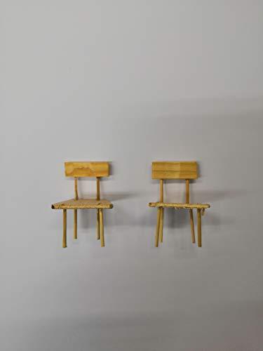 Sedie in legno 2 miniature per presepe decorazione natale 5 cm