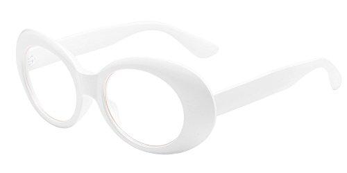 BOZEVON Retro Ovale Sonnenbrille - UV400 Schutzbrillen für Damen & Herren Weiß-Transparent