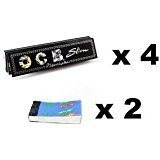 #2: Scoria Black Ocb King Size Rolling Paper Pack Of 4 (128 Leaves) + 2 Rouch Book Pad