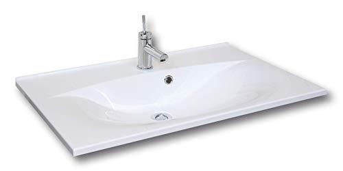 FACKELMANN Waschbecken CAPRI / Waschtisch aus Gussmarmor / Maße (B x H x T): ca. 80 x 14,5 x 50 cm / Einbauwaschbecken / hochwertiges Becken fürs Badezimmer und WC / Farbe: Weiß / Breite: 80 cm
