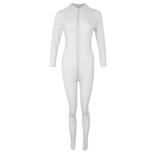 Baoblaze Sexy Frauen Catsuit Dessous Kostüm Geöffneter Gabelung Reißverschluss Glänzender Bodysuit - Weiß