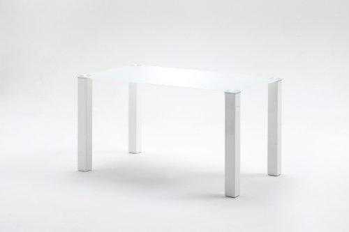 , Tisch, Esszimmertisch, Glastisch, Hanna, Hochglanz/weiß, 120 x 76 x 80 cm, HA12HWGW