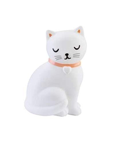 Sass & Belle Deko-Leuchte Nachtlicht Lampe Katze weiß rosa 10x15cm