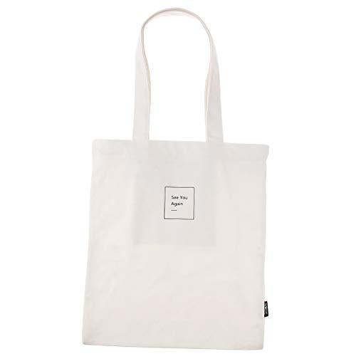 Hellery Bedruckt Shopper Tasche Stofftasche Tragetasche Beuteltasche Stoffbeutel Canvas Bag Freizeittasche (See You Again) - Weiß -